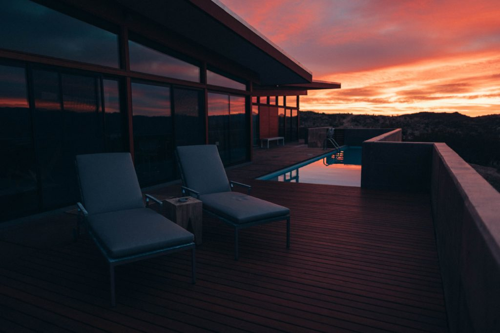sunset photograph of a deck